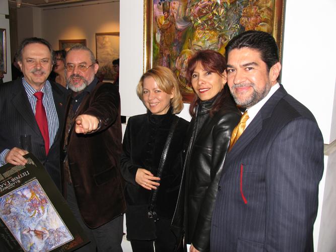 Colombian Ambassador in Russia Diego Jose Tobon, Vladimir Petrov-Gladky, wife Valentina, Julieta Servantes, Mexican Ambassador in Russia Alfredo Peres Bravo