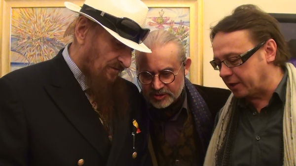 With the founder of  Vienna School of Fantastic Realism Ernst Fuchs and Russian collector Roman Fedchin